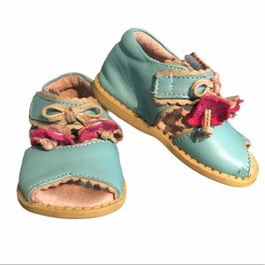 Livie and Luca blue and pink leather baby sandals